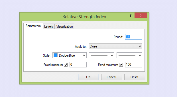 Indicator rsi settings