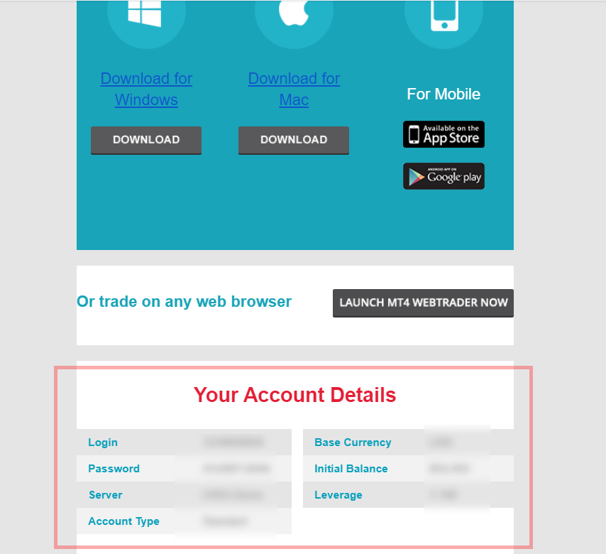 AxiTrader account details email
