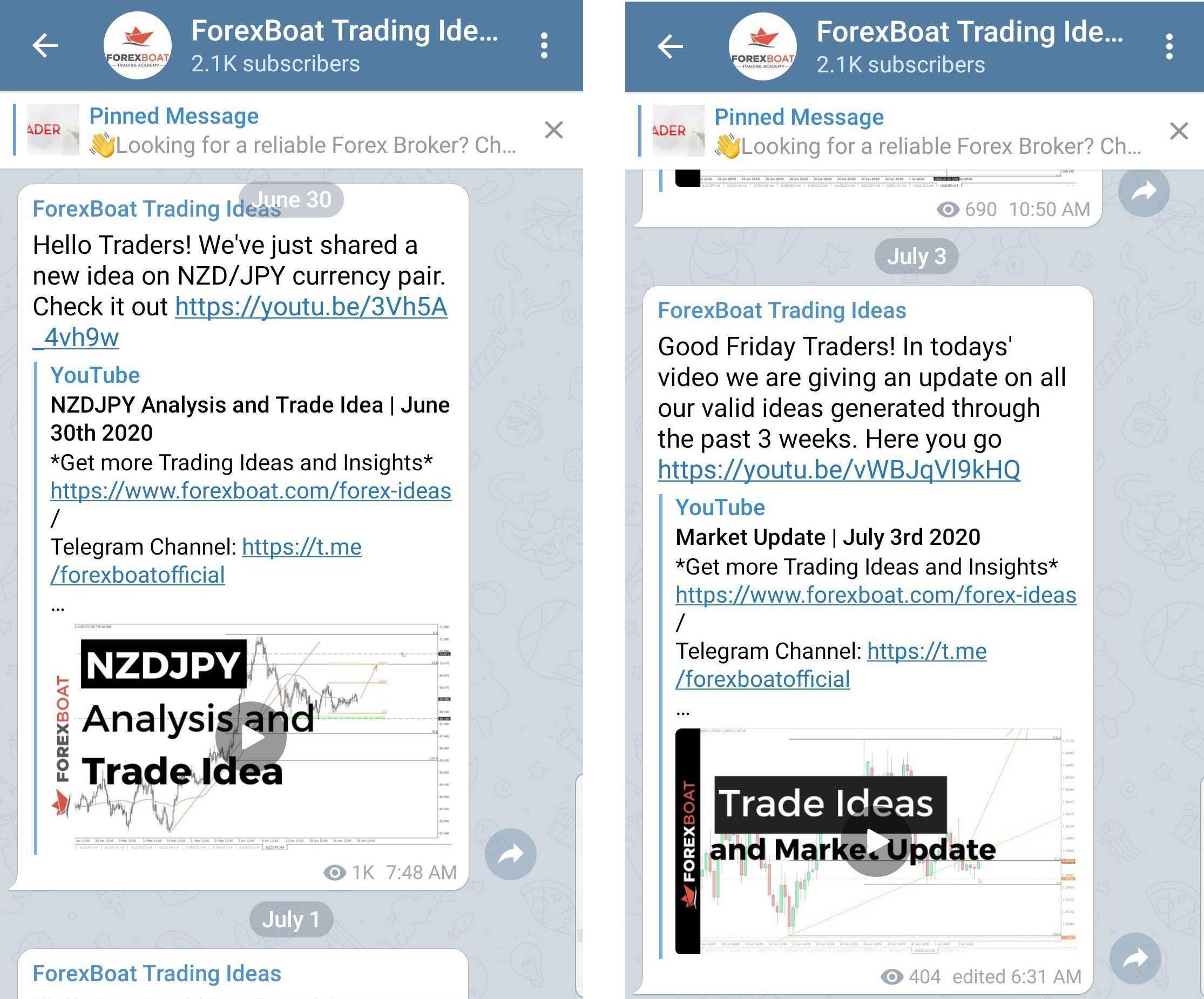 ForexBoat Telegram Channel Screenshots