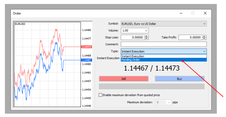MetaTrader Order Type Selection