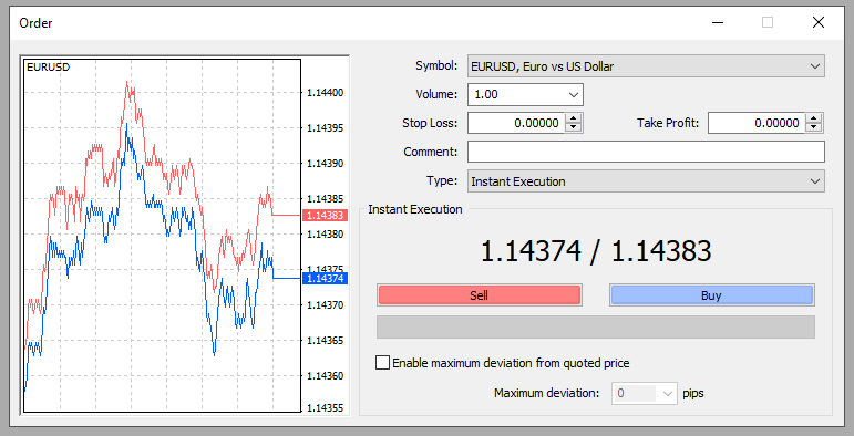 metatrader 4 open order window